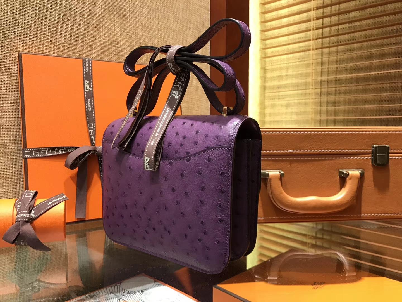 Hermès(爱马仕)Constance 18cm 海葵紫 南非进口鸵鸟 KK级别 顶级全手工 金扣