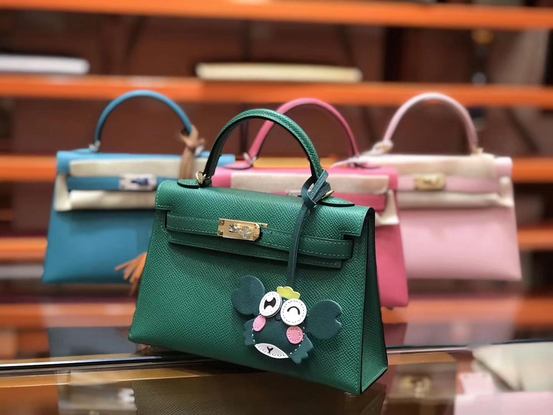 Hermès(爱马仕)Birkin铂金包 mini kelly 孔雀绿 进口掌纹小牛皮 金扣 顶级手工缝制 19cm