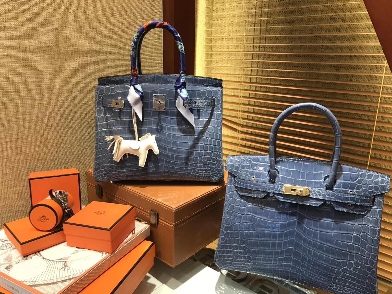 Hermès(爱马仕)Birkin 牛仔蓝 一级尼罗鳄鱼皮 顶级工艺全手工制作 30cm