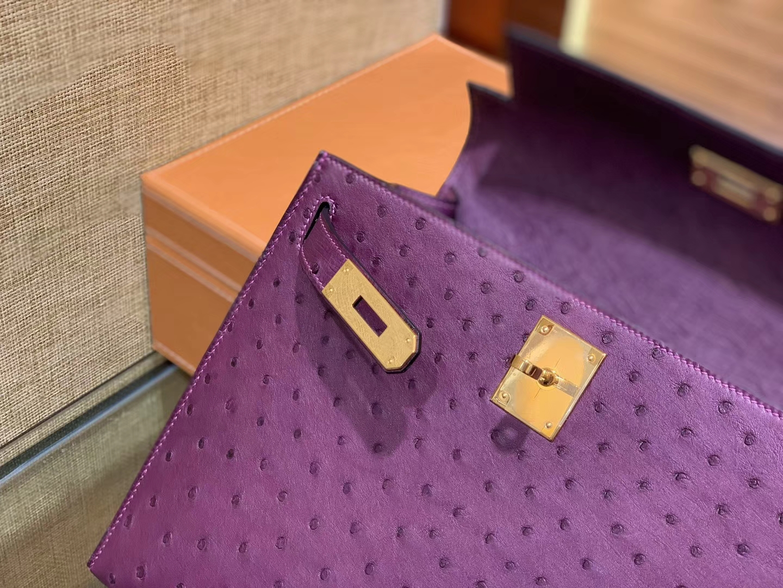 Hermès(爱马仕)Kelly 28cm 海葵紫 南非进口鸵鸟 顶级手缝工艺 金扣