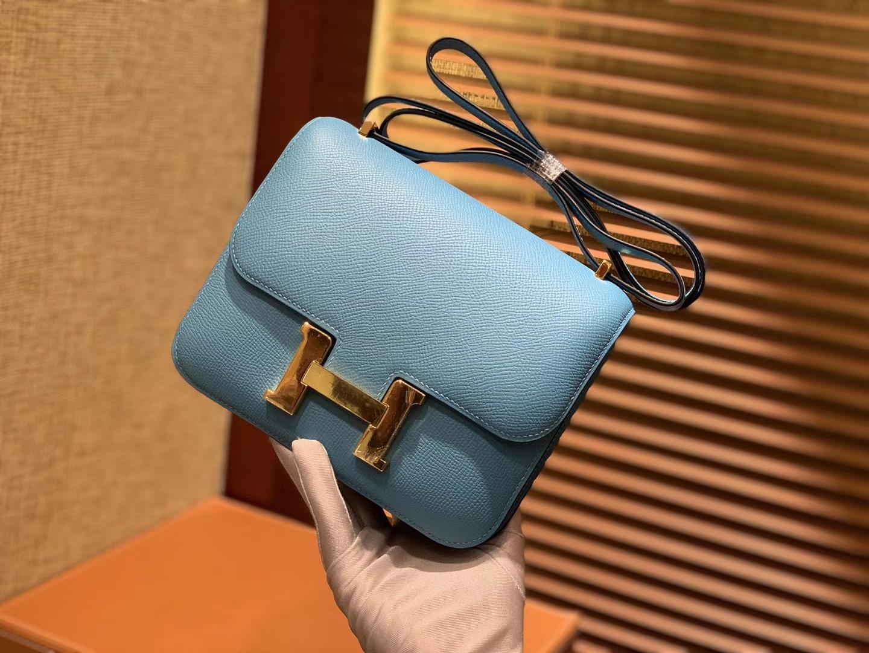 Hermès(爱马仕)Constance空姐包 北方蓝 顶级全手工缝制 18cm