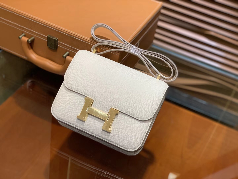Hermès(爱马仕)Constance空姐包 掌纹 奶昔白 顶级全手工缝制 金扣 18cm