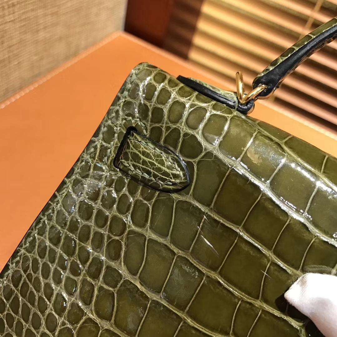 Hermès(爱马仕)MiniKelly 迷你凯莉 橄榄绿 一级美洲鳄鱼皮 顶级手缝蜡线 金扣 19cm 2代