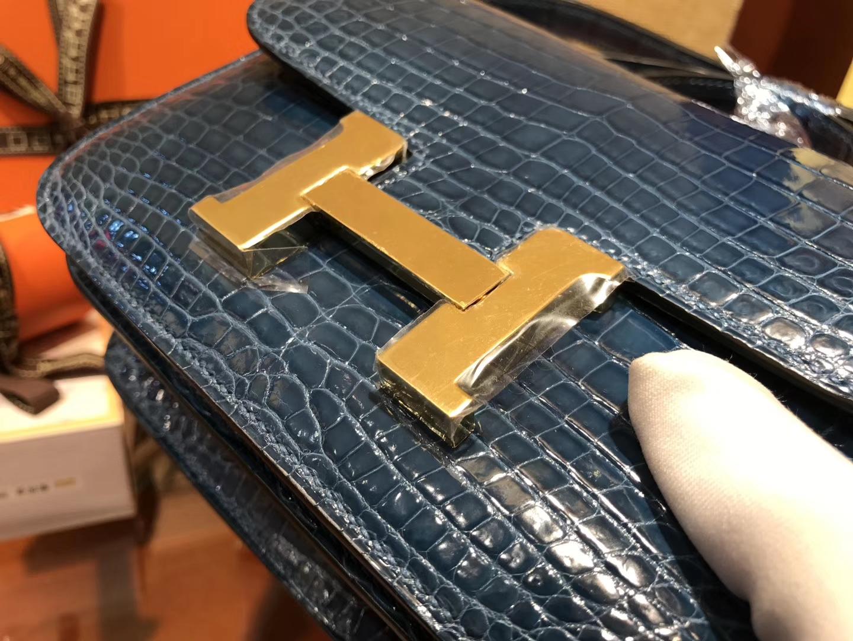 Hermès(爱马仕)Constance空姐包 风暴蓝 一级 尼罗 鳄鱼皮 臻品级别 金扣 18cm