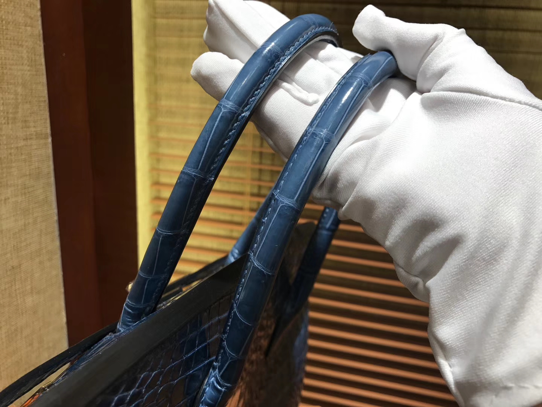 Hermès(爱马仕)Birkin铂金包 玛瑙蓝 一级皮 尼罗鳄鱼 进口原料 顶级手缝工艺 金扣 30cm