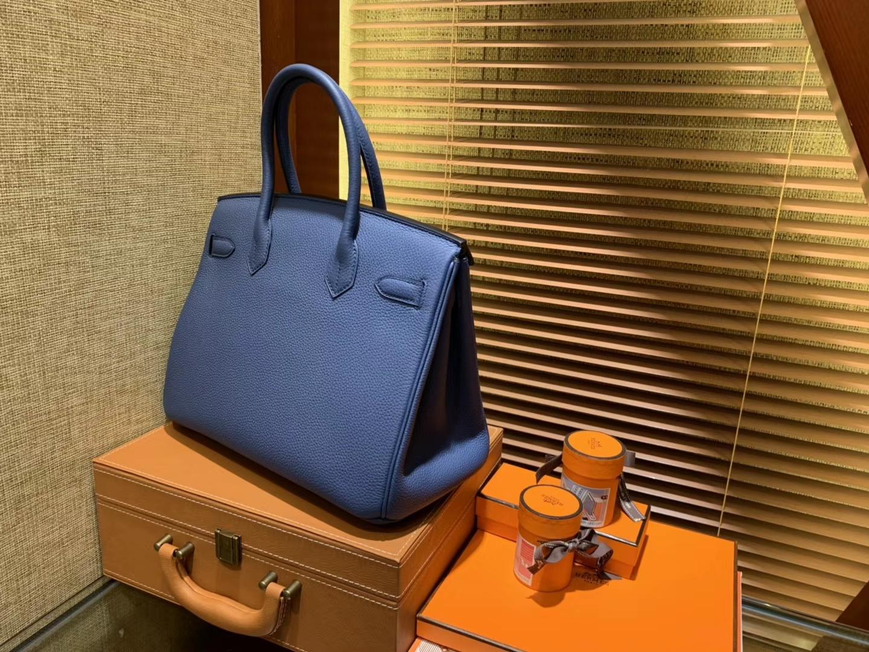Hermès(爱马仕)Birkin铂金包 玛瑙蓝 德国进口小牛皮 顶级品质全手工缝制 金扣 30cm