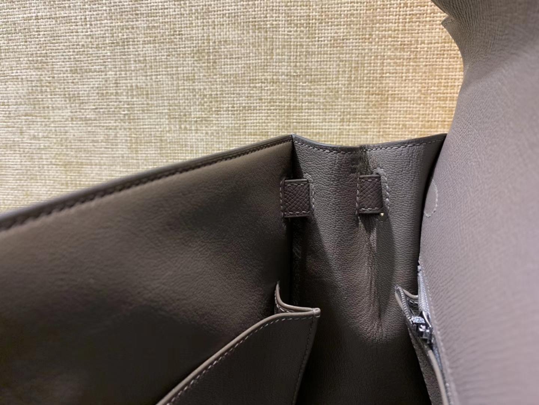 Hermès(爱马仕)Kelly凯莉包 掌纹小牛皮 锡器灰 进口原料 原版蜜蜡线 顶级工艺 银扣 28cm