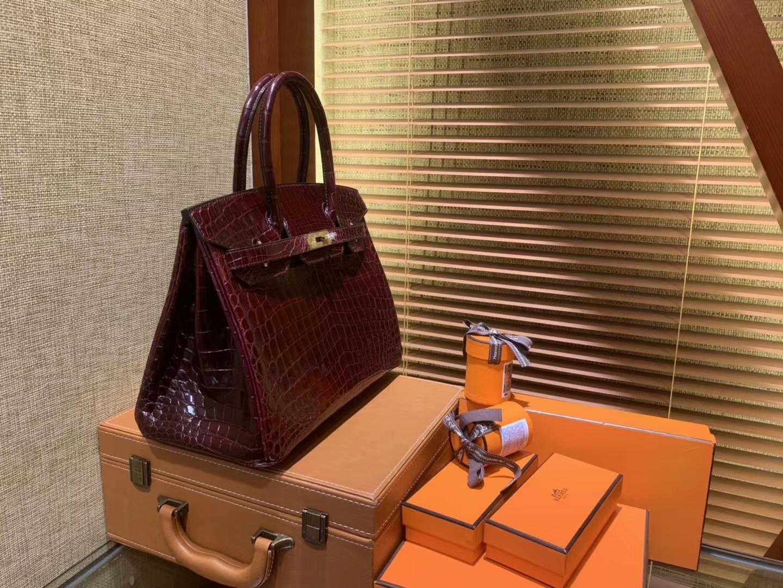 Hermès(爱马仕)Birkin铂金包 波尔多酒红 一级皮 尼罗鳄鱼 进口原料 顶级手缝工艺 30cm