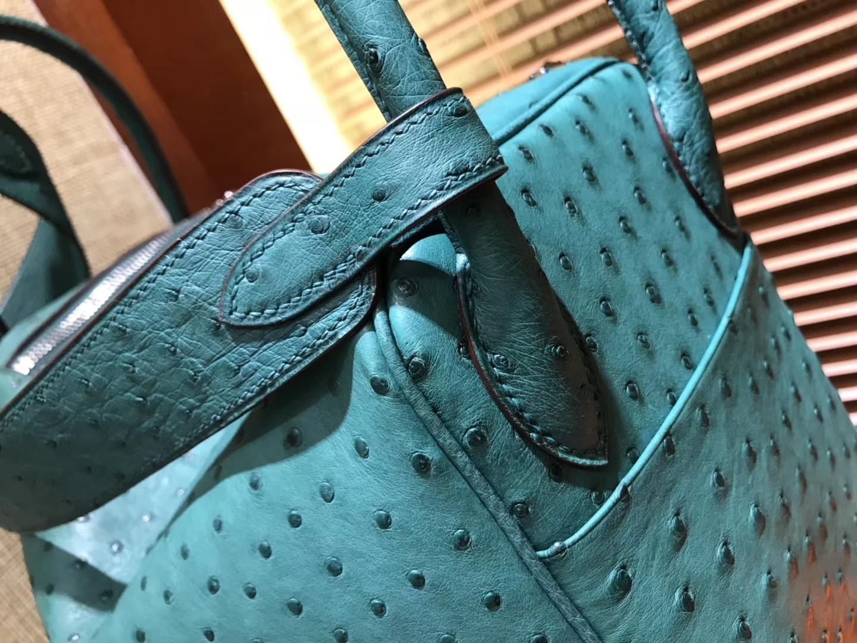 Hermès(爱马仕)Lindy琳迪包 丝绒绿 南非进口鸵鸟皮 全手工缝制 银扣 30cm