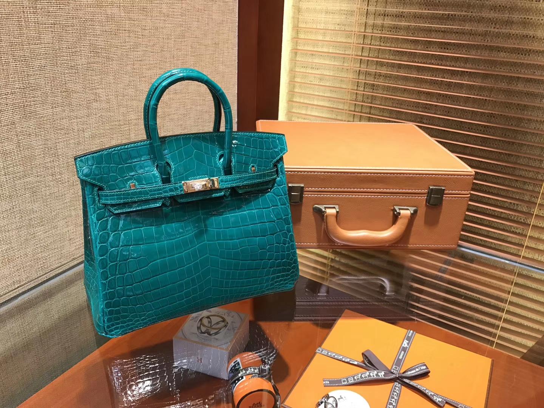 Hermès(爱马仕)Birkin铂金包 翡翠绿 一级皮 尼罗鳄鱼 进口原料 顶级手缝工艺 25cm