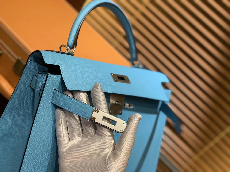 Hermès(爱马仕)Kelly凯莉包 北方蓝 德国掌纹牛皮 进口原料 顶级手工缝制 金扣 28cm