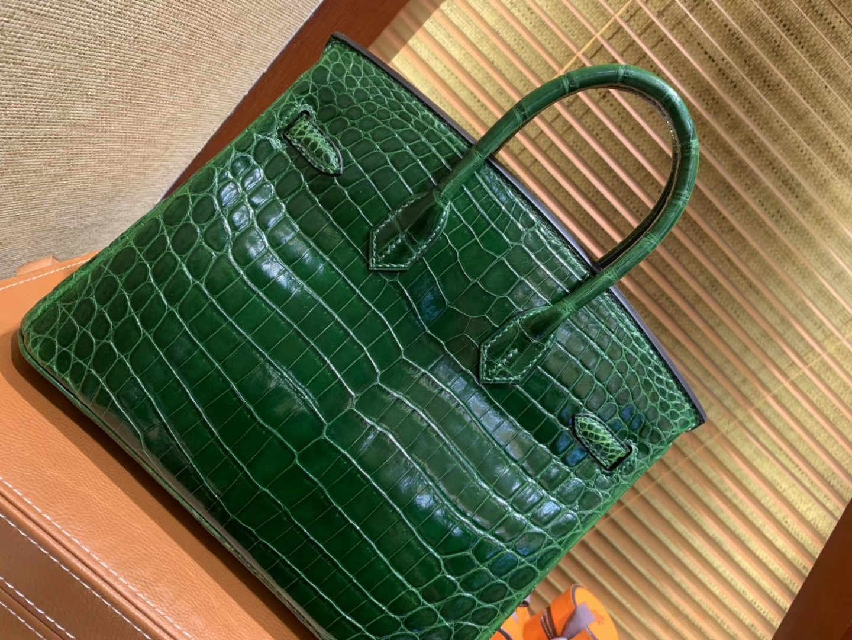 Hermès(爱马仕)Birkin铂金包 祖母绿一级皮 尼罗鳄鱼 进口原料 顶级手缝工艺 25cm