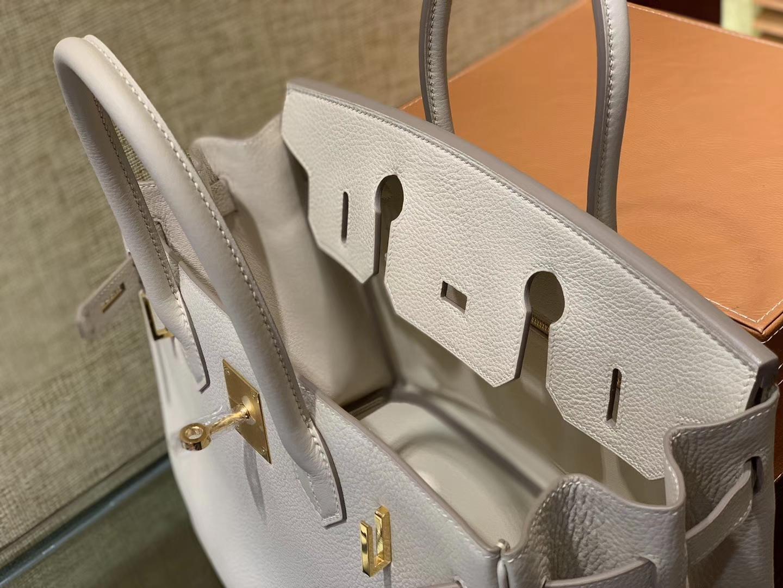 Hermès(爱马仕)Birkin 30cm 奶昔白 Togo牛皮 德国进口原料 顶级工艺 金扣