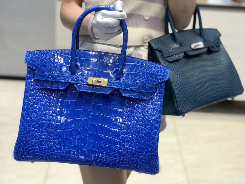 Hermès(爱马仕) Birkin铂金包 电光蓝 亮面美洲鳄鱼皮 金扣 35cm