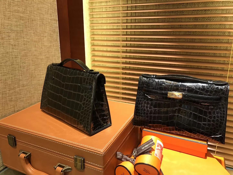 Hermès(爱马仕)MiniKelly 迷你凯莉 黑色 进口鳄鱼皮 顶级手缝工艺 金扣 22cm