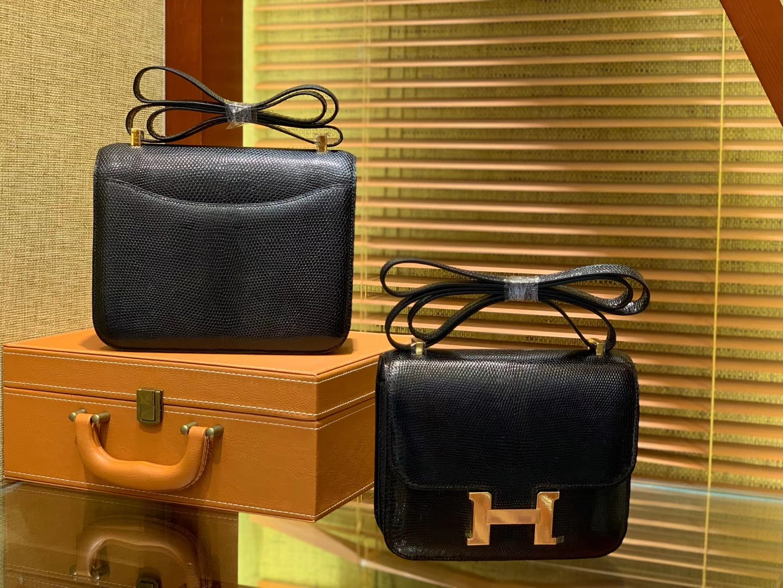 Hermès(爱马仕)Constance 18cm 经典黑 野生蜥蜴皮 顶级手缝工艺 金扣