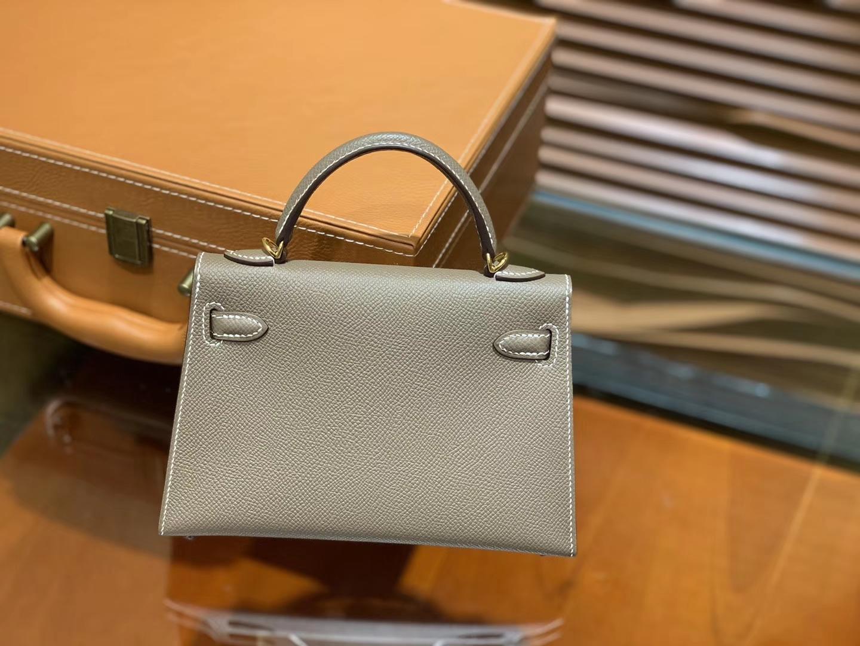Hermès(爱马仕)MiniKelly 迷你凯莉 大象灰 德国掌纹牛皮 原版蜜蜡 全手工缝制 2代 19cm