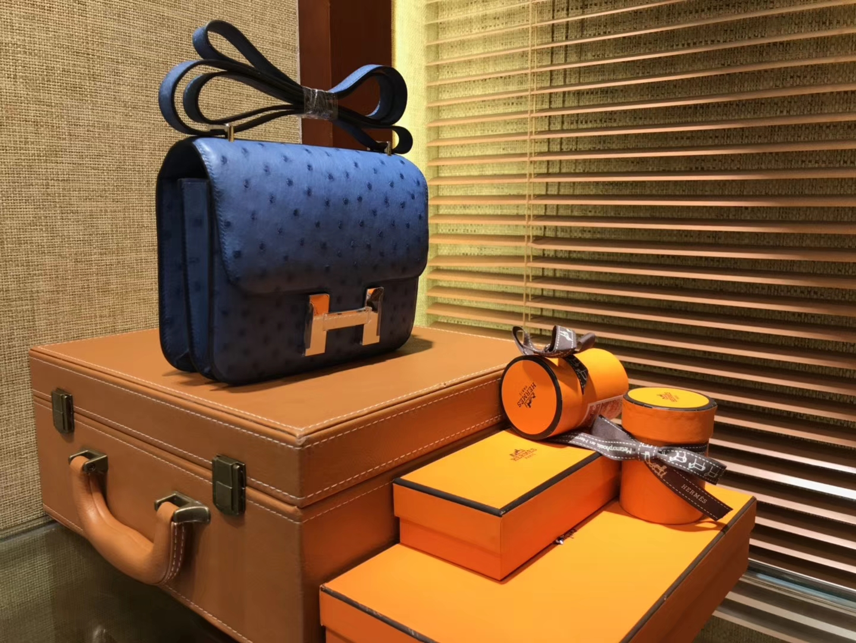 Hermès(爱马仕)Constance 18cm 玛瑙蓝 南非进口鸵鸟 KK级别 顶级全手工 金扣