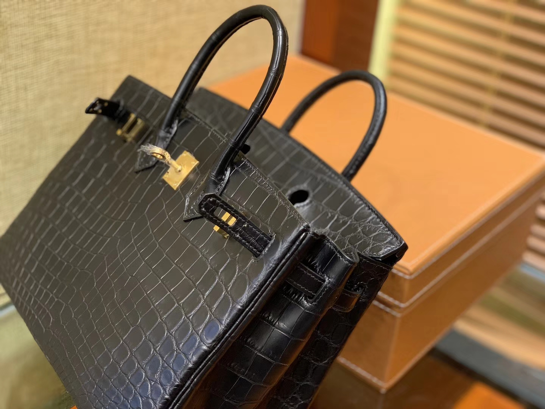 Hermès(爱马仕)Birkin 25cm 2代19cm 黑色 雾面哑光 鳄鱼皮 顶级手工缝制
