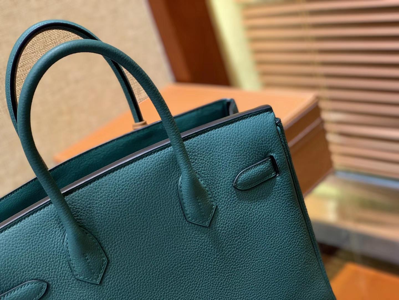 Hermès(爱马仕)Birkin铂金包 孔雀绿 德国进口小牛皮 顶级品质全手工缝制 金扣 30cm