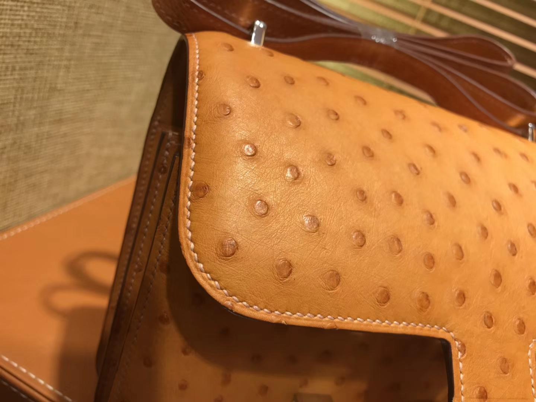 Hermès(爱马仕)Constance 18cm 太妃金 南非进口鸵鸟 KK级别 顶级全手工 金扣