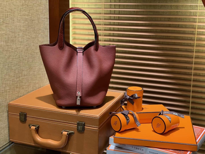 Hermès(爱马仕)Piction菜篮包 酒红 Togo牛皮拼鳄鱼 进口原料 全手工缝制 银扣 18cm