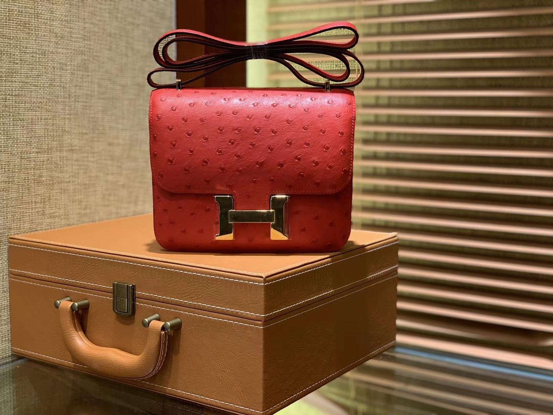 Hermès(爱马仕)Constance空姐包 新颜色 爱心红 鸵鸟皮 顶级全手工缝制 18cm