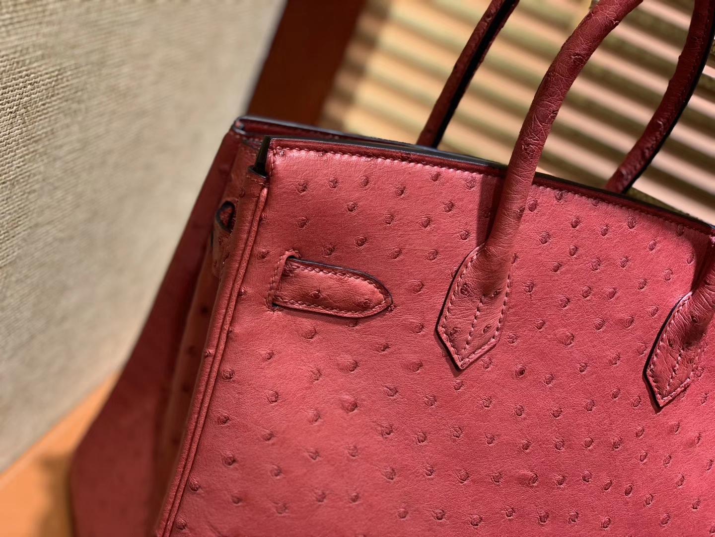 Hermès(爱马仕)Birkin 30cm 石榴红 南非进口鸵鸟皮 顶级手缝工艺 金扣
