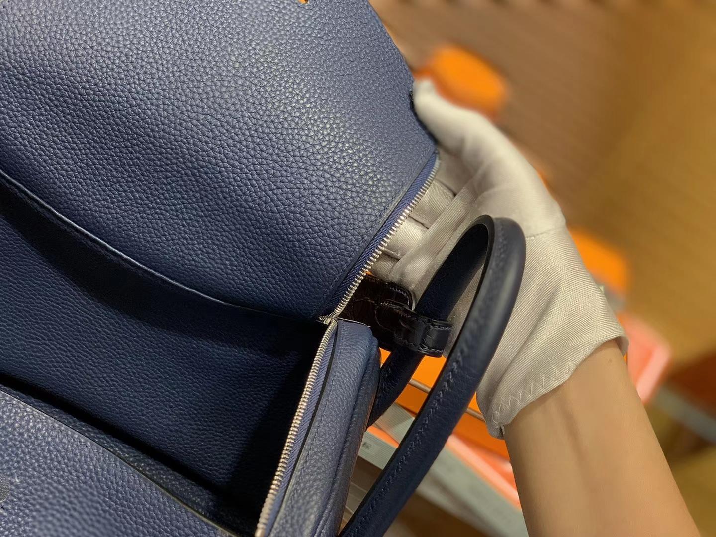 Hermès(爱马仕)Lindy琳迪包 午夜蓝 小牛皮拼鳄鱼皮 进口原料 全手工缝制 银扣 26cm
