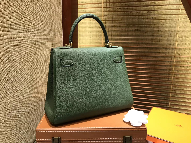 Hermès(爱马仕)Kelly凯莉包 togo小牛皮 丛林绿 进口原料 原版蜜蜡线 金扣 28cm