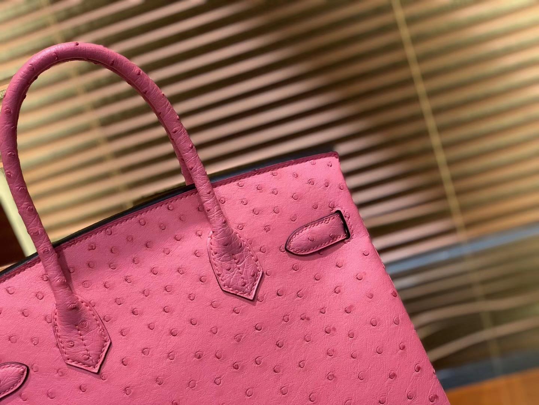 Hermès(爱马仕)Birkin 30cm 新唇膏粉 南非进口鸵鸟皮 顶级手缝工艺 金扣