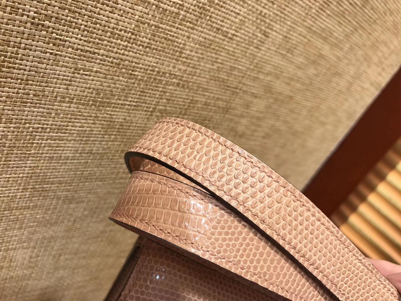 Hermès(爱马仕)Constance 23cm 裸粉色 蜥蜴皮 顶级手缝工艺 金扣