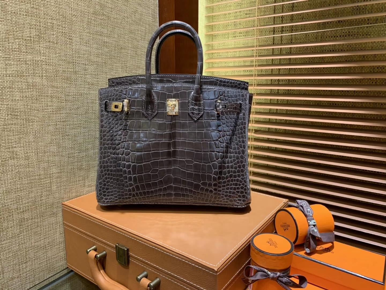 Hermès(爱马仕)Birkin铂金包 锡器灰 一级皮 美洲鳄鱼 进口原料 顶级手缝工艺 25cm