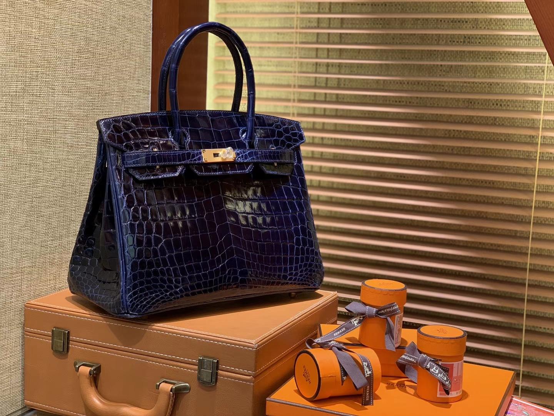 Hermès(爱马仕)Birkin铂金包 午夜蓝 一级皮 尼罗鳄鱼 进口原料 顶级手缝工艺 30cm