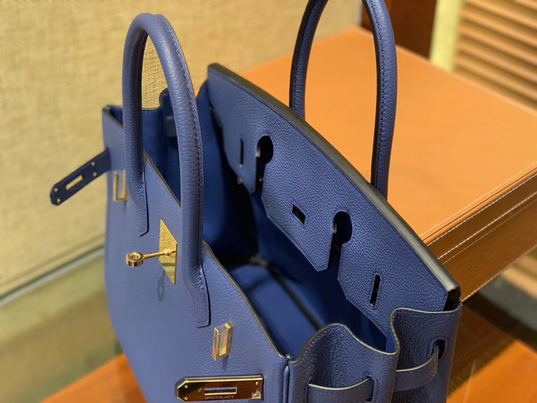 Hermès(爱马仕)Birkin铂金包 明蓝色 德国进口小牛皮 顶级品质全手工缝制 金扣 30cm