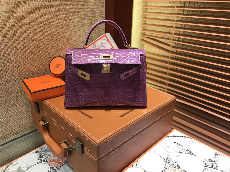 Hermès(爱马仕)MiniKelly 迷你凯莉 焉尾紫 一级美洲鳄鱼皮 顶级手缝蜡线 金扣 19cm 2代