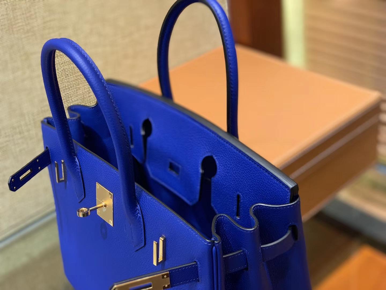 Hermès(爱马仕)Birkin铂金包 琉璃蓝 德国进口小牛皮 顶级品质全手工缝制 金扣 30cm