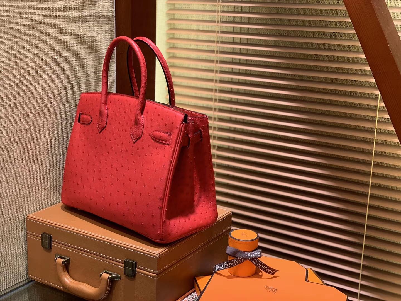 Hermès(爱马仕)Birkin铂金包 大红色 南非进口鸵鸟皮 KK级别 匠心打造 30cm