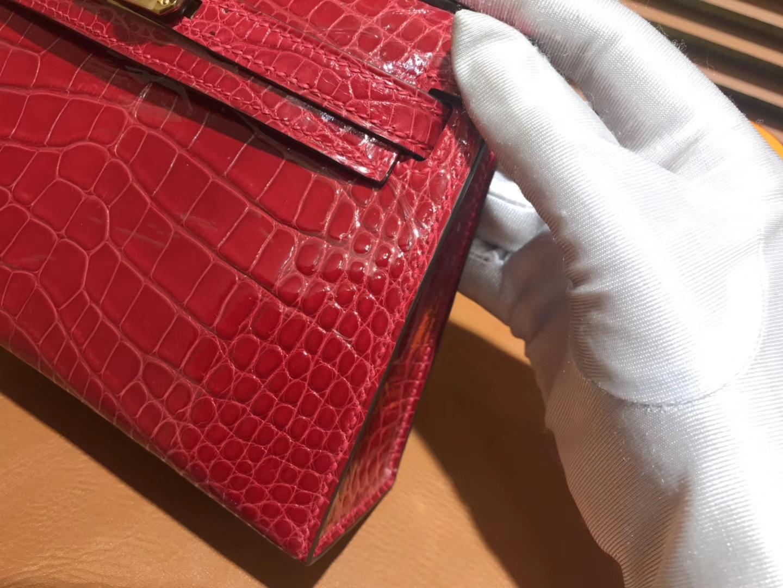 Hermès(爱马仕)MiniKelly 迷你凯莉 大红色 一级美洲鳄鱼皮 顶级手缝蜡线 金扣 19cm 2代