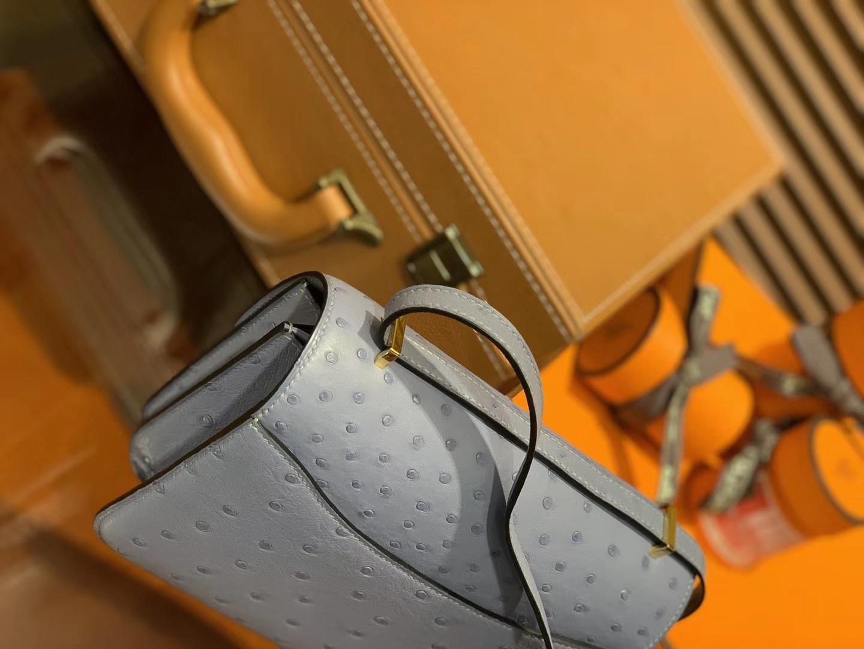 Hermès(爱马仕)Constance 18cm 淡蓝色 南非进口鸵鸟 KK级别 顶级全手工 金扣
