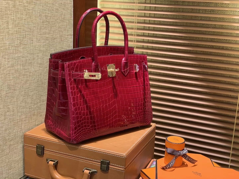 Hermès(爱马仕)Birkin铂金包 石榴红 一级皮 尼罗鳄鱼 进口原料 顶级手缝工艺 30cm