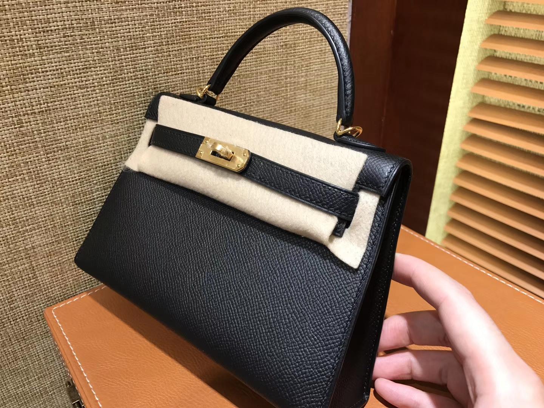 Hermès(爱马仕)Mini Kelly迷你凯莉 黑色 德国掌纹牛皮 全手工缝制 臻品级别 金扣 19cm