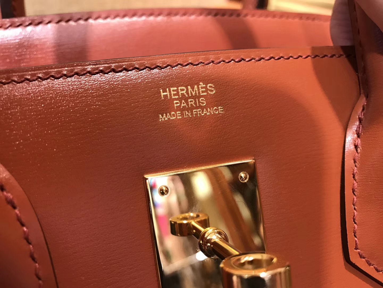 Hermès(爱马仕)Birkin铂金包 古铜色 德国BOX牛皮 原版蜜蜡线 顶级手缝 金扣 30cm