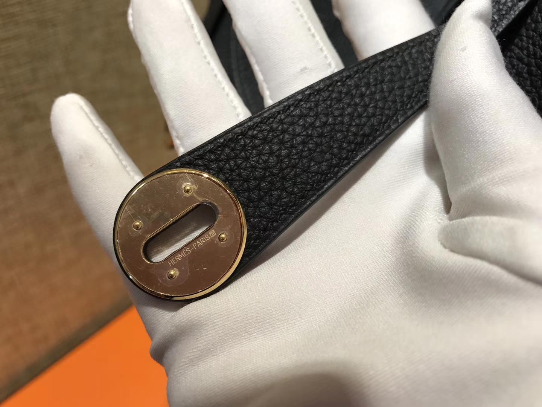 Hermès(爱马仕)Lindy琳迪包 经典黑 德国进口togo牛皮 全手工缝制 金扣 30cm