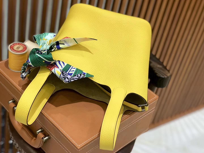 Hermès(爱马仕)新增现货 Picotin 菜篮子 琥珀黄 全手工蜡线缝制 银扣 18cm
