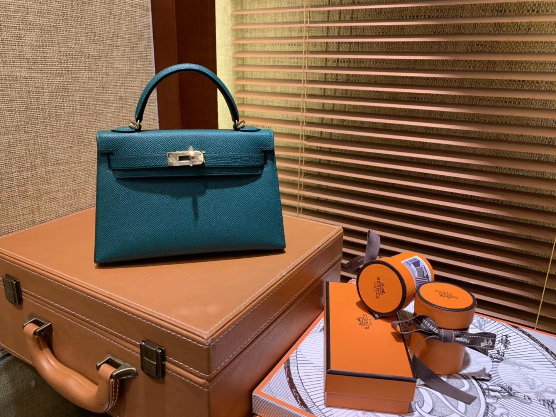 Hermès(爱马仕)Mini Kelly迷你凯莉 孔雀绿 德国掌纹牛皮 全手工缝制 臻品级别 金扣 19cm
