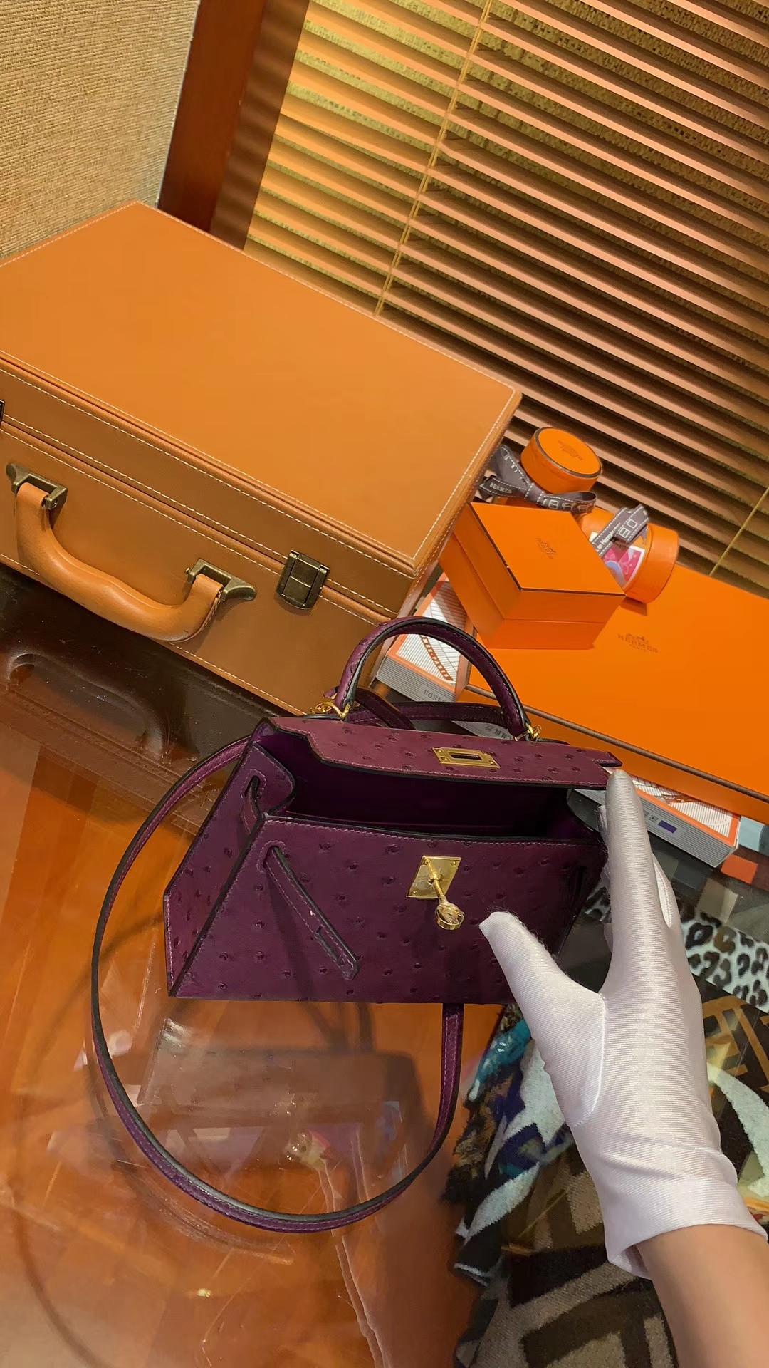 Hermès(爱马仕)迷你2代 mini Kelly 深紫色 南非KK鸵鸟 全手工缝制 19cm