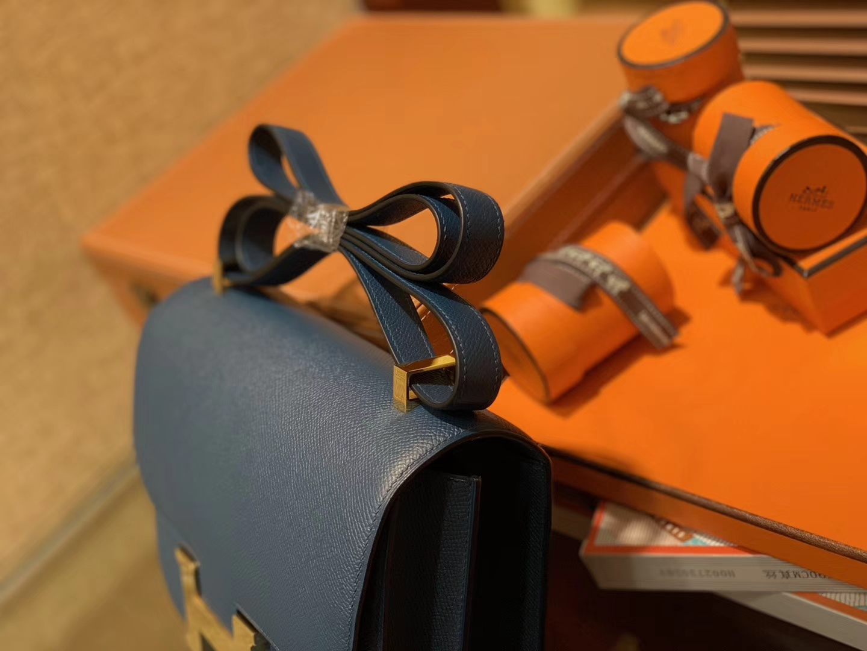 Hermès(爱马仕)Constance 23cm 靛蓝色 EP掌纹牛皮 德国进口原料