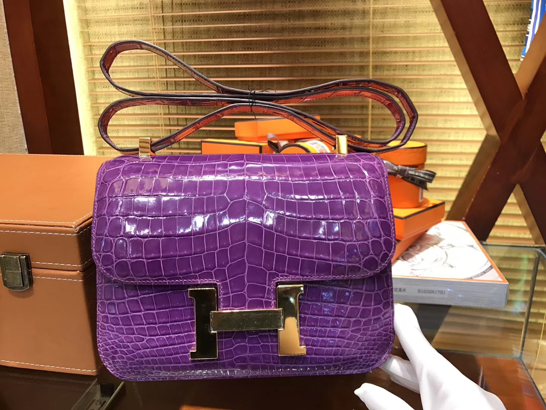 Hermès(爱马仕)Constance 23cm 梦幻紫 一级尼罗鳄鱼皮 全手工缝制 臻品级别
