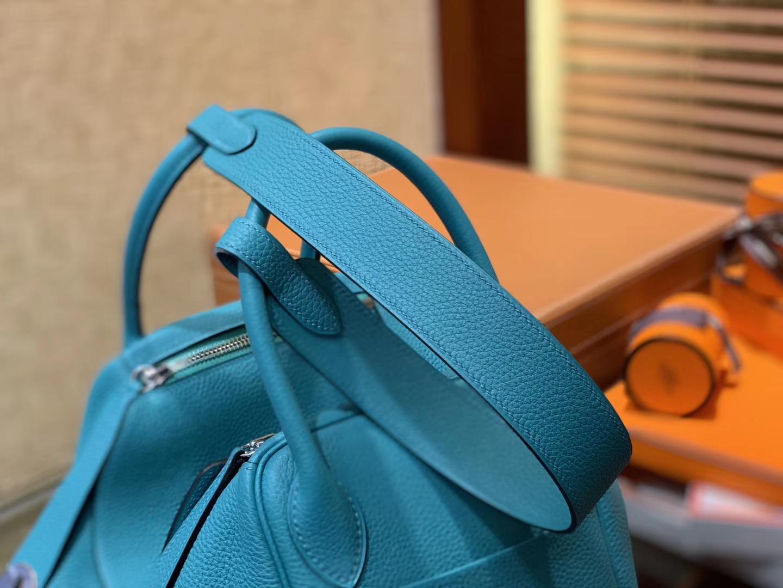 Hermès(爱马仕)Lindy琳迪包 孔雀蓝 德国进口togo牛皮 全手工缝制 银扣 30cm